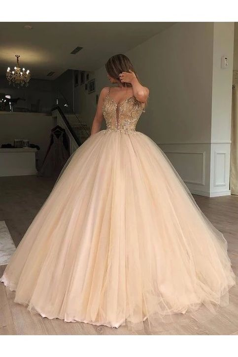 Sparkly Spaghetti Strap Beaded Ball Gown Prom Dress, Long Tulle Quinceanera Dresses,584