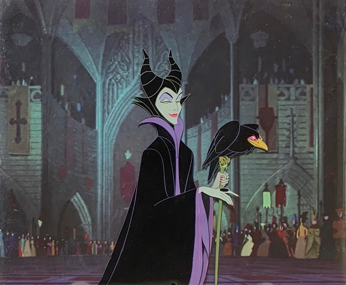Original Production Animation Cels of Maleficent and Diablo from Sleeping Beauty 1959