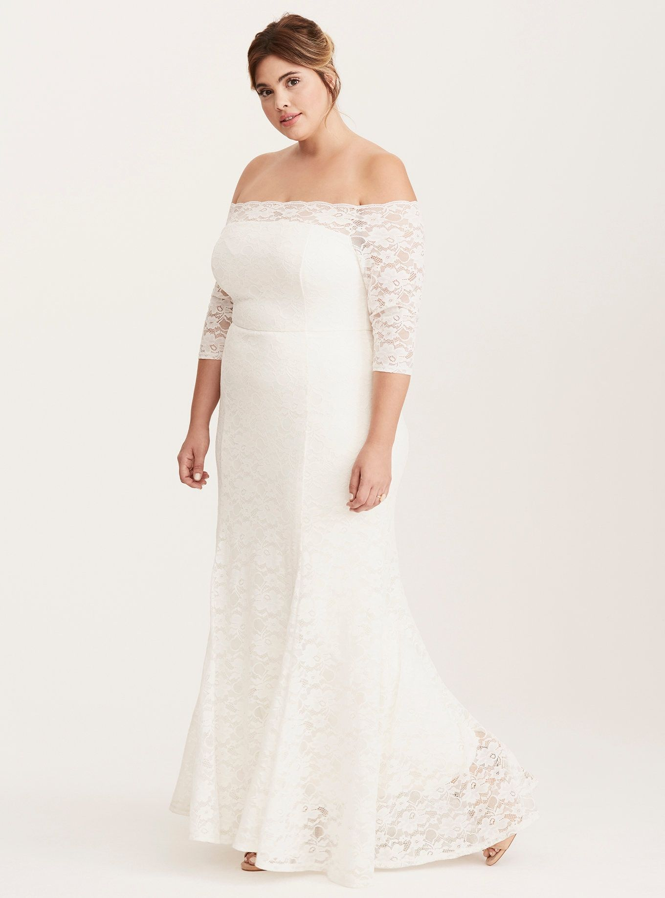 Special occasion lace off shoulder gown wedding ideas pinterest