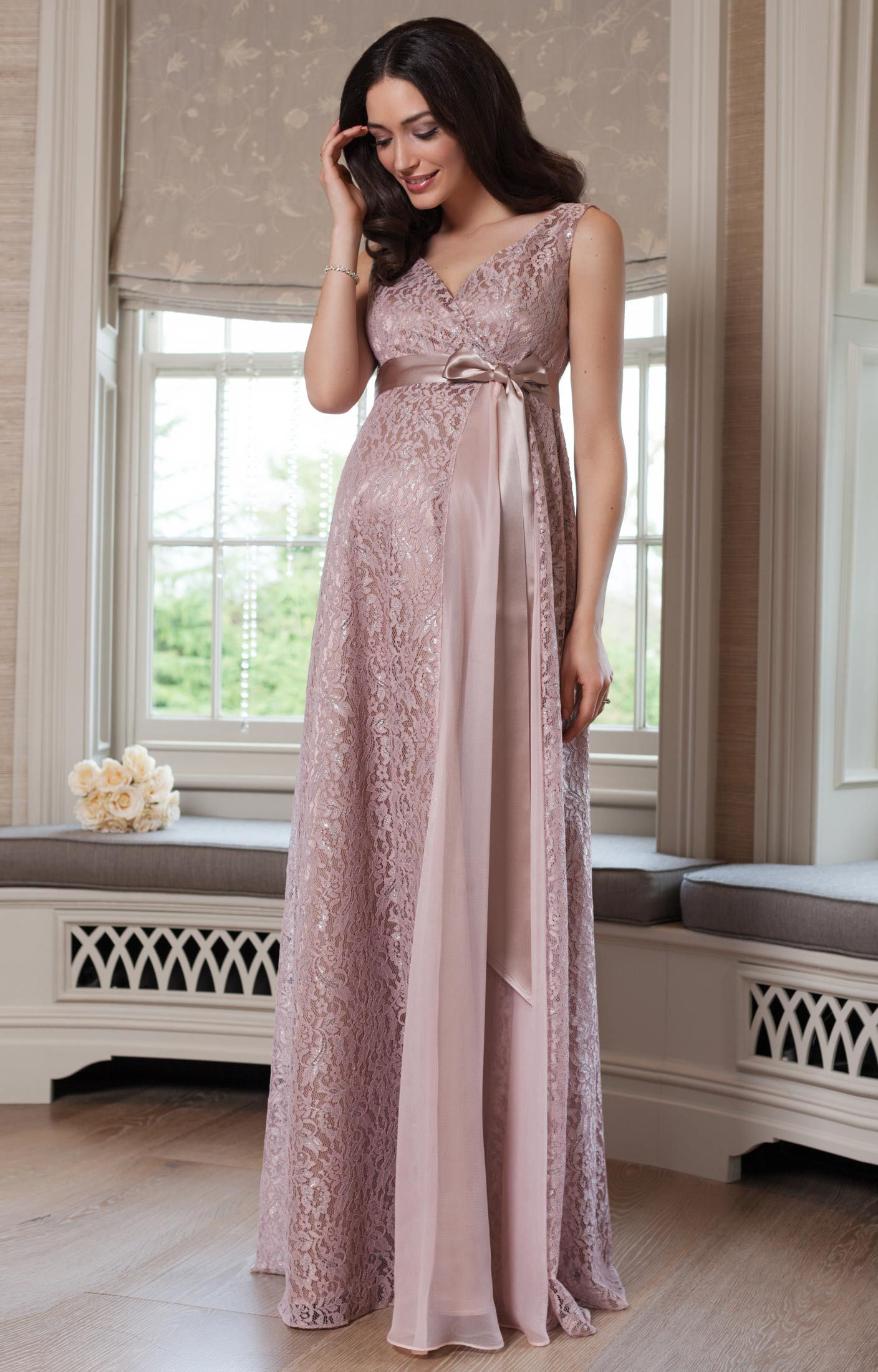 Thea Maternity Gown Long Blush - Maternity Wedding Dresses