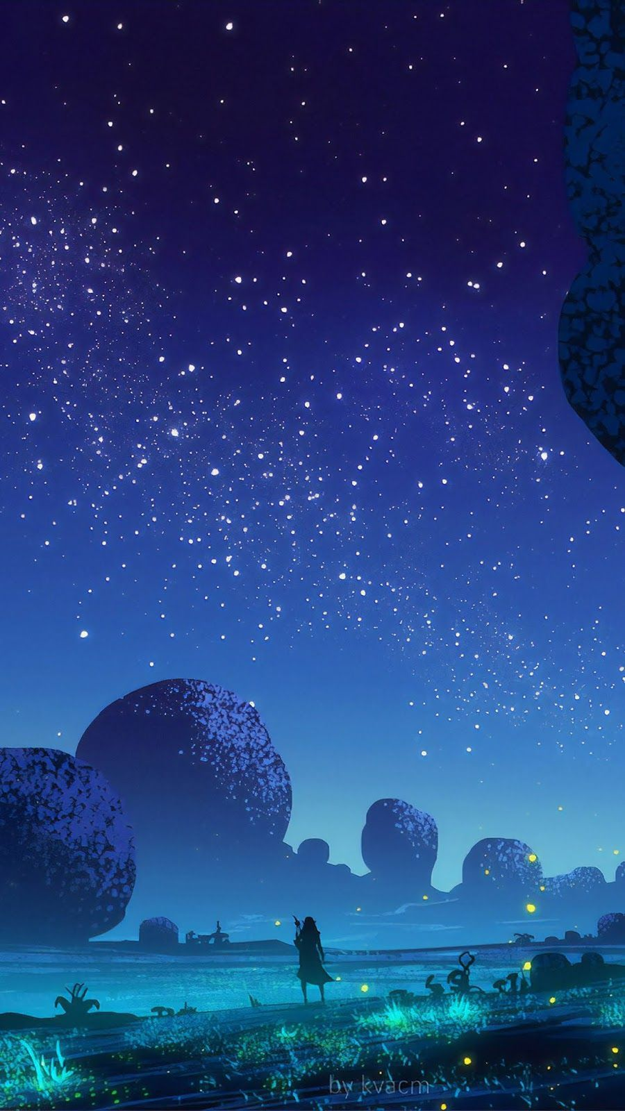 Under The Night Sky Wallpaper Iphone Android Background Followme Night Scenery Sky Anime Night Skies Iphone anime night sky wallpaper hd