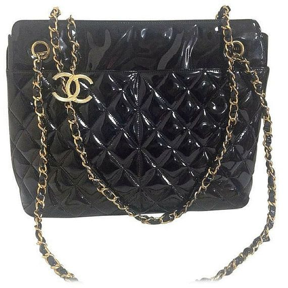 d9cf105045d8 Vintage CHANEL patent enamel quilted black leather large shoulder tote bag  with large golden CC charm and chains. Perfect daily Chanel purse
