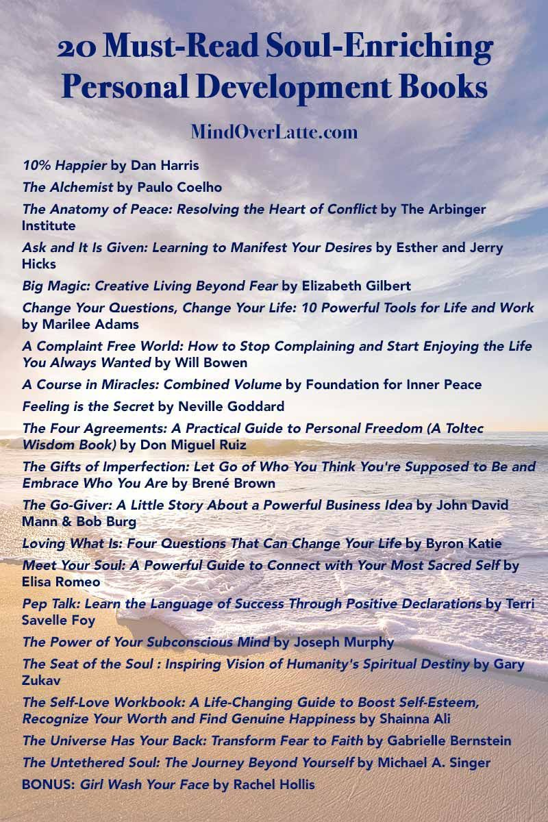 Top 20 MustRead SoulEnriching Personal Development Books is part of Personal development books, Personal development, Development, Self improvement, Pep talks, Reading - If you're looking to get to know yourself better and improve your life at the same time, the personal development books on this list are a goldmine of