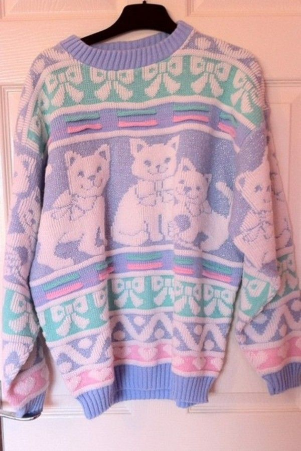 dafce34c21 Sweater  jumper cat cats pastel rainbow blue purple mint bows pink cute  kawaii fashion