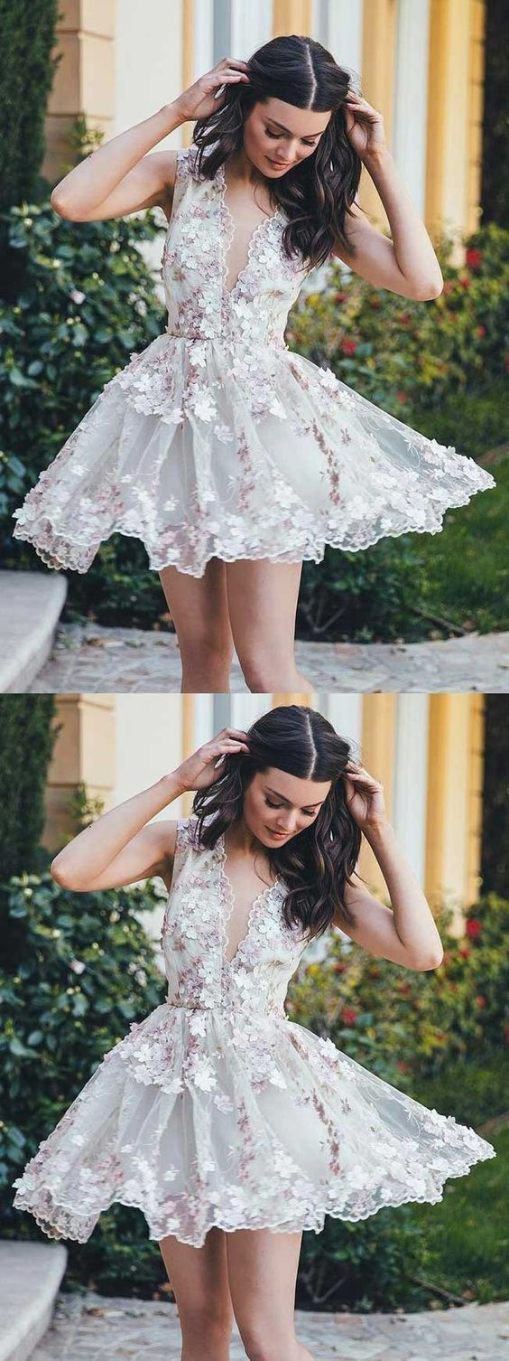 Floral homecoming dress shortshort prom dress with flowerscharming