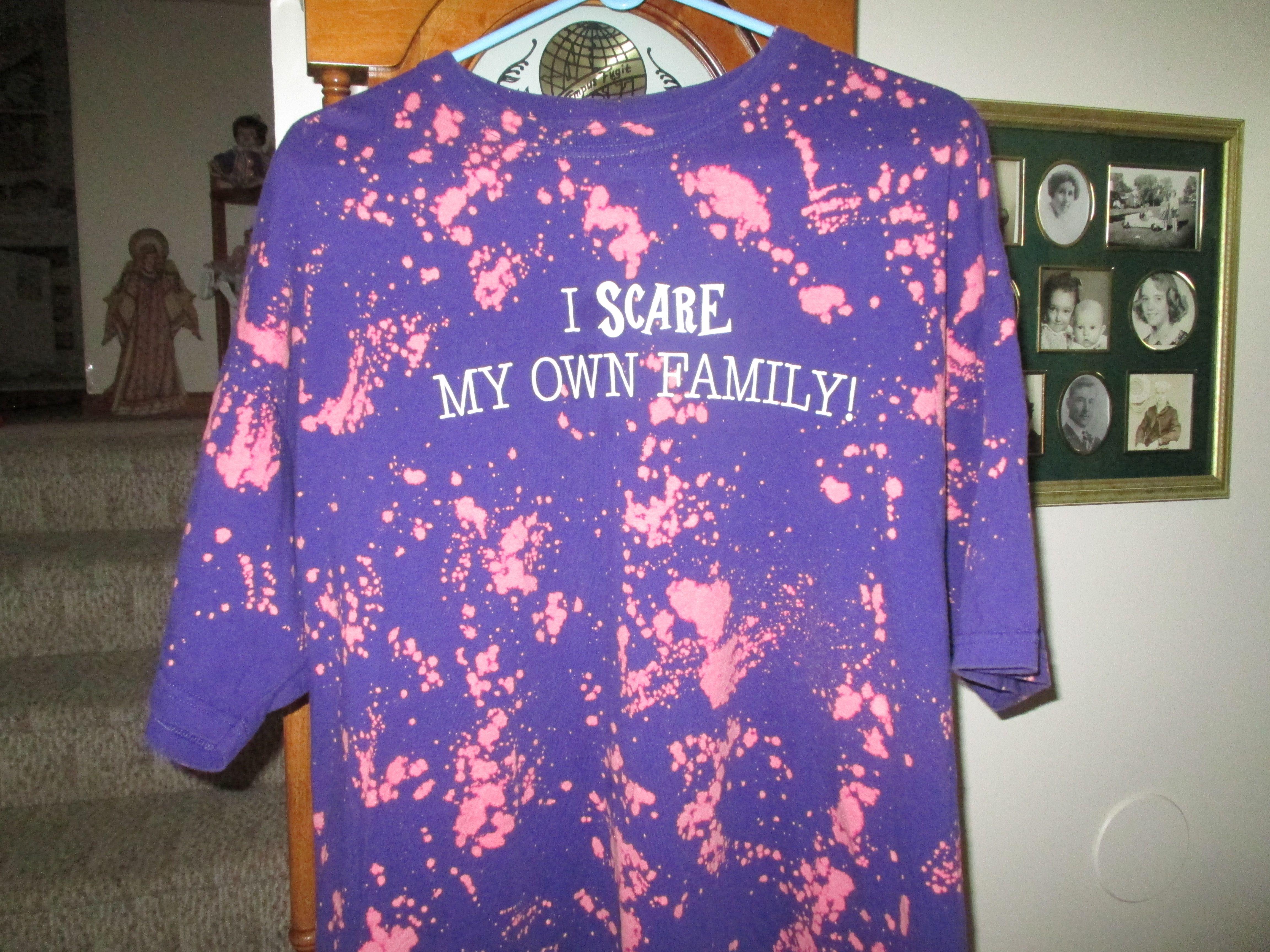 Bleach splashed tee shirt from Goodwill.