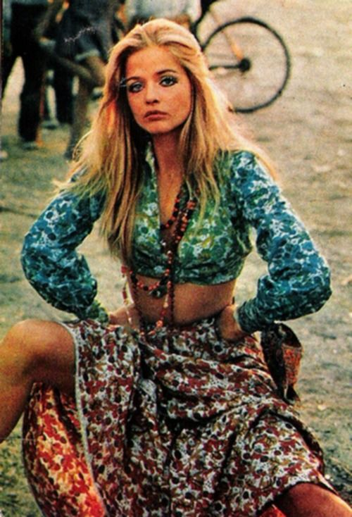26b2bd87bdf Lovely Ewa Aulin, 1960s the original boho look vintage fashion style floral crop  top long