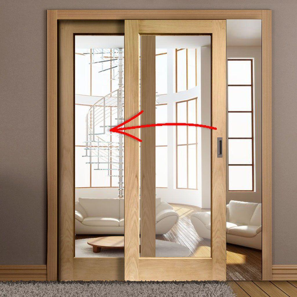 Easi Slide Op3 Oak Full Pane Sliding Door System In Four Size Widths