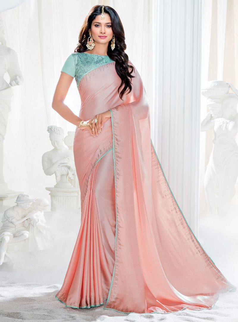 Peach Crepe Silk Party Wear Saree 120585 | India | Pinterest