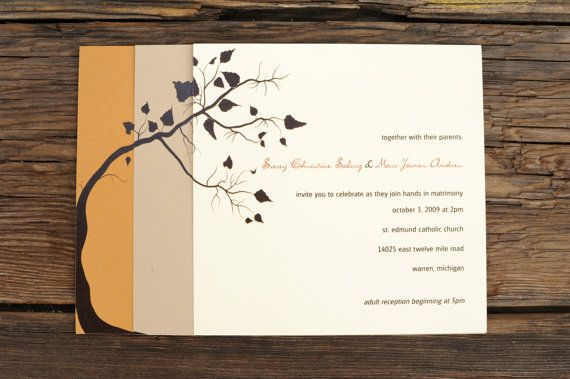 Fall Wedding Invitations  Tree Leaves Autumn Warm by ruffhouseart, $3.50
