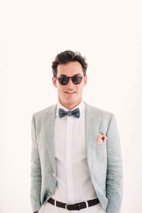 Dapper groom perfectly beach-ready in Oscar Hunt linen suit ...