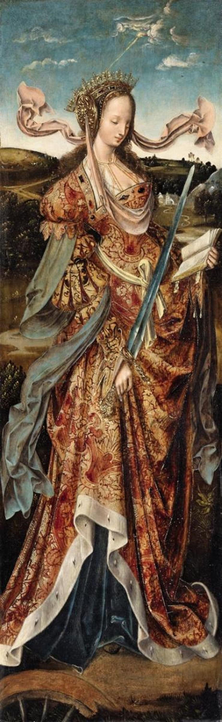 Cornelis Engebrechtsz, Saint Barbara and Saint Catherine,( Auction 1029 Old Masters and 19th Century, Lot 1018) ,* Believed to be a triptych of the two saints by the Netherlands artist. 1500's painting.