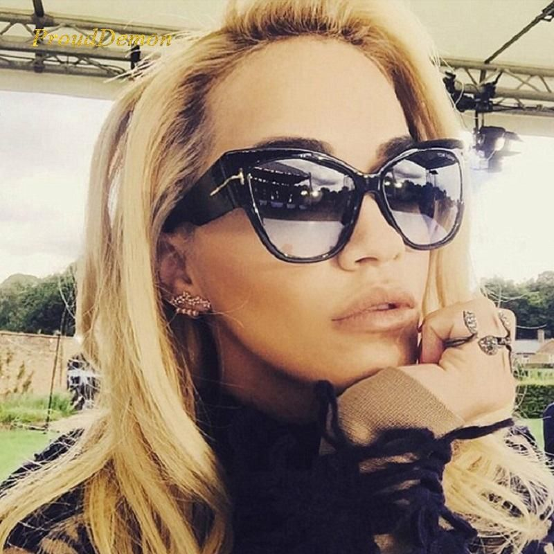b2fd3d47c33c1 Details about Large Oversized Cat Eye Thick Frame Celebrity Anoushka Brown  Sunglasses in 2019