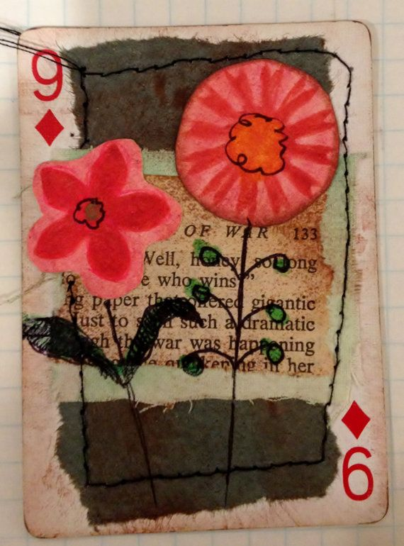 9 of Diamonds Inspiring Flowers - Altered Playing Card Collage (OOAK) Using Inks, Papers, Fabrics/Lace, Paint & Handcarved Stamps