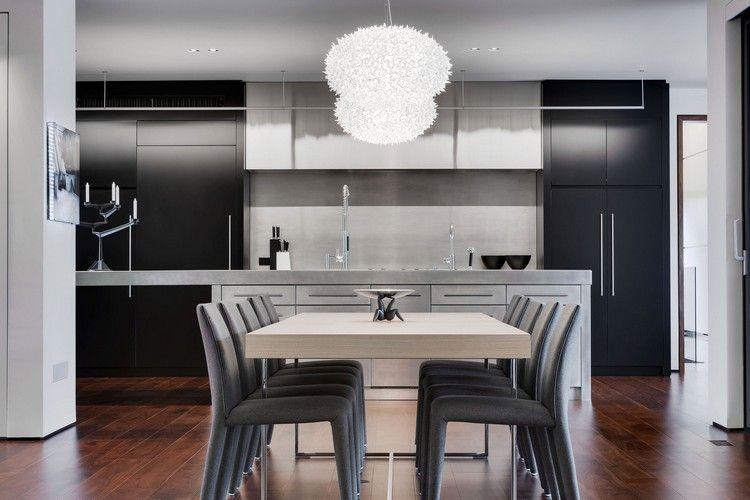Esszimmermöbel - rechteckiger Holz Esstisch und grau gepolsterte - esszimmer in grau