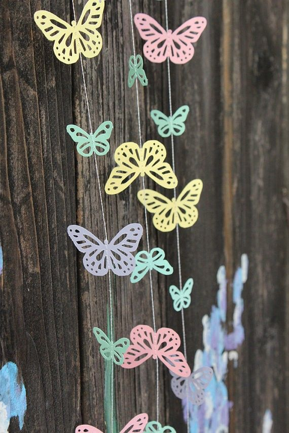 Spring Pastel Butterflies Paper Garland   Easter, Baby Shower, Party  Decorations #2014 #