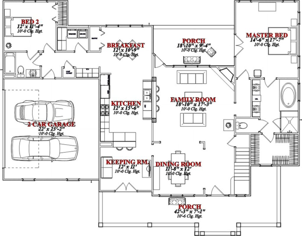 Country Style House Plan 4 Beds 3 Baths 2565 Sq Ft Plan 63 271 Country Style House Plans Farmhouse Style House Plans Cottage Style House Plans