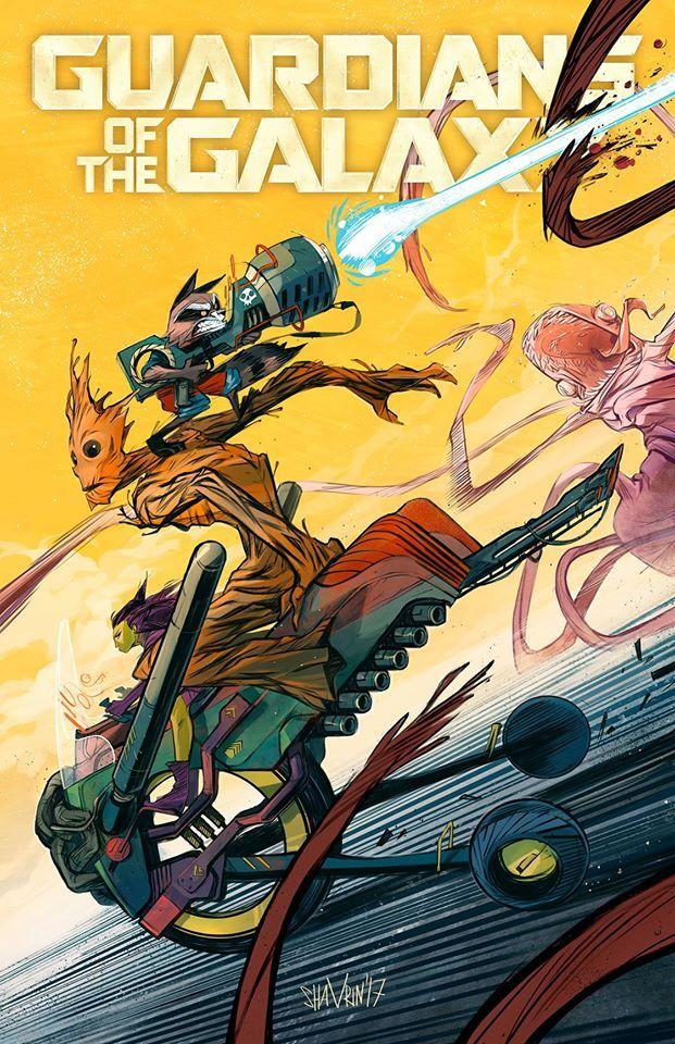 Rocket Raccoon Gamora Groot Guardians Of The Galaxy Comic Art Illustration Cover Art Of Ivan Shavrin Shavrin Marvel