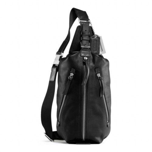 Coach f70360 thompson black leather sling bag backpack ...