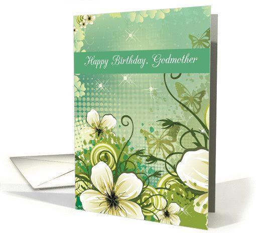 Godmother Birthday Green Flowers Card Pinterest Green Flowers