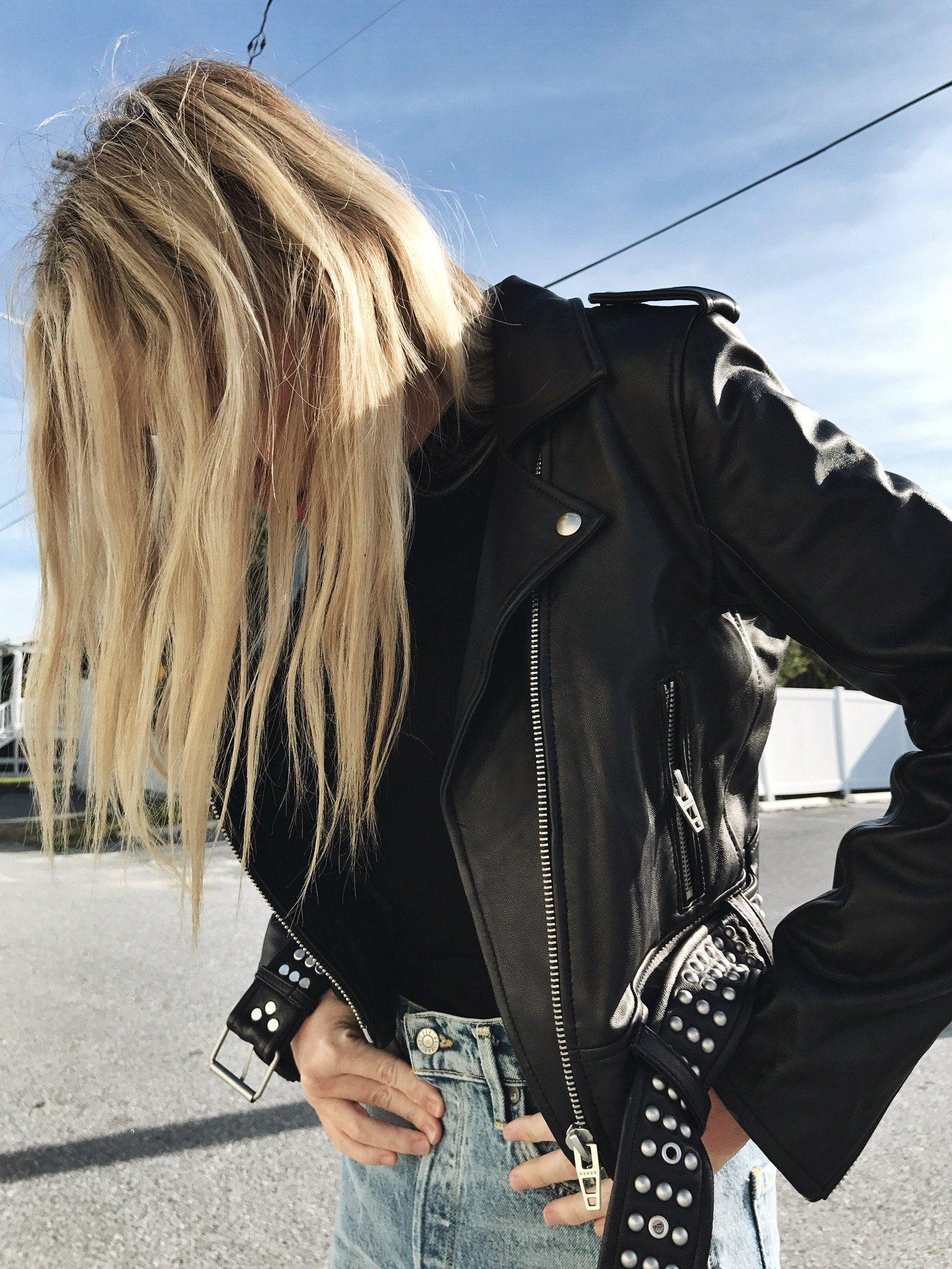 Blank Black Smoke Leather Jacket. Motto Jacket. Basic ...