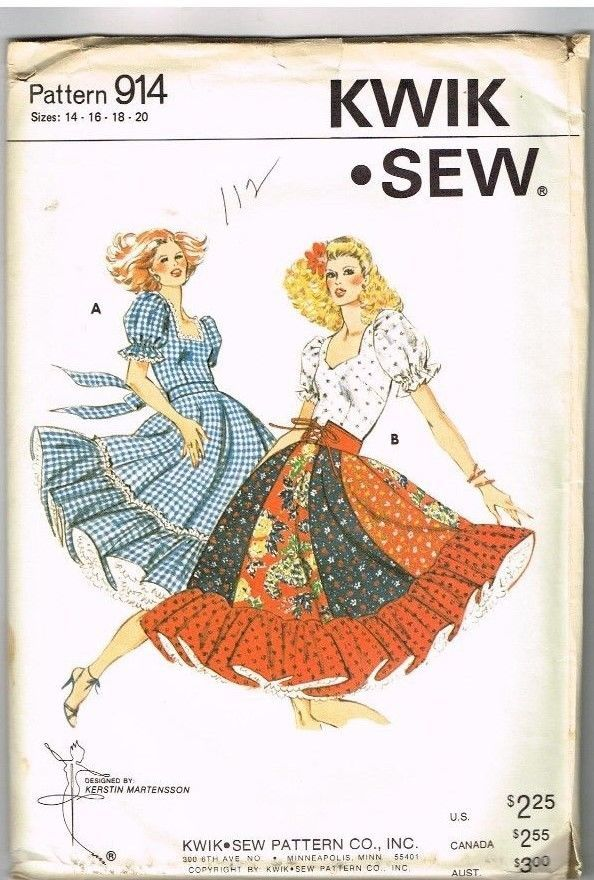 Vintage Sewing Pattern Square Dance Dancing Dress Kwik Sew 914 Sizes ...