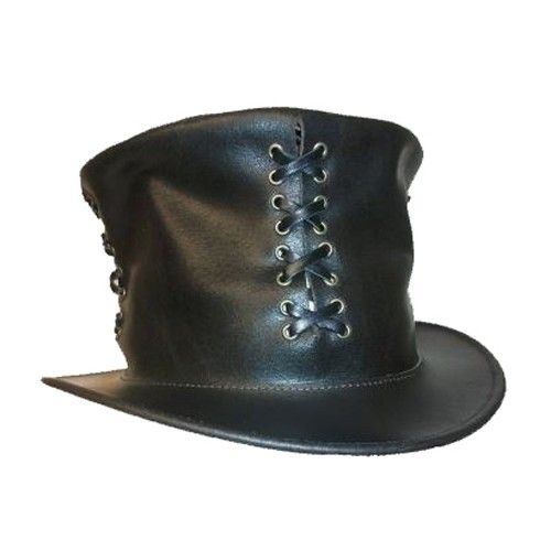 85c90d37c690a Steampunk Leather Top Hat. Made in New Zealand.