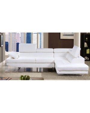 Furniture Of America Cm6553wh Modern Low Profile Design White Leather Sectional Sofa With Adjule Headrest