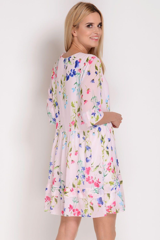 704a926402445e AVARO Szyfonowa sukienka w kwiaty SU-1361, Kobieta Odzież Sukienki - Avaro .pl