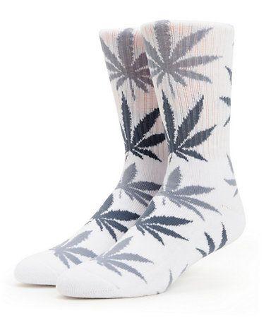 d37fac9161c94 HUF Plantlife White & Charcoal Crew Socks | Closet | Socks, White ...
