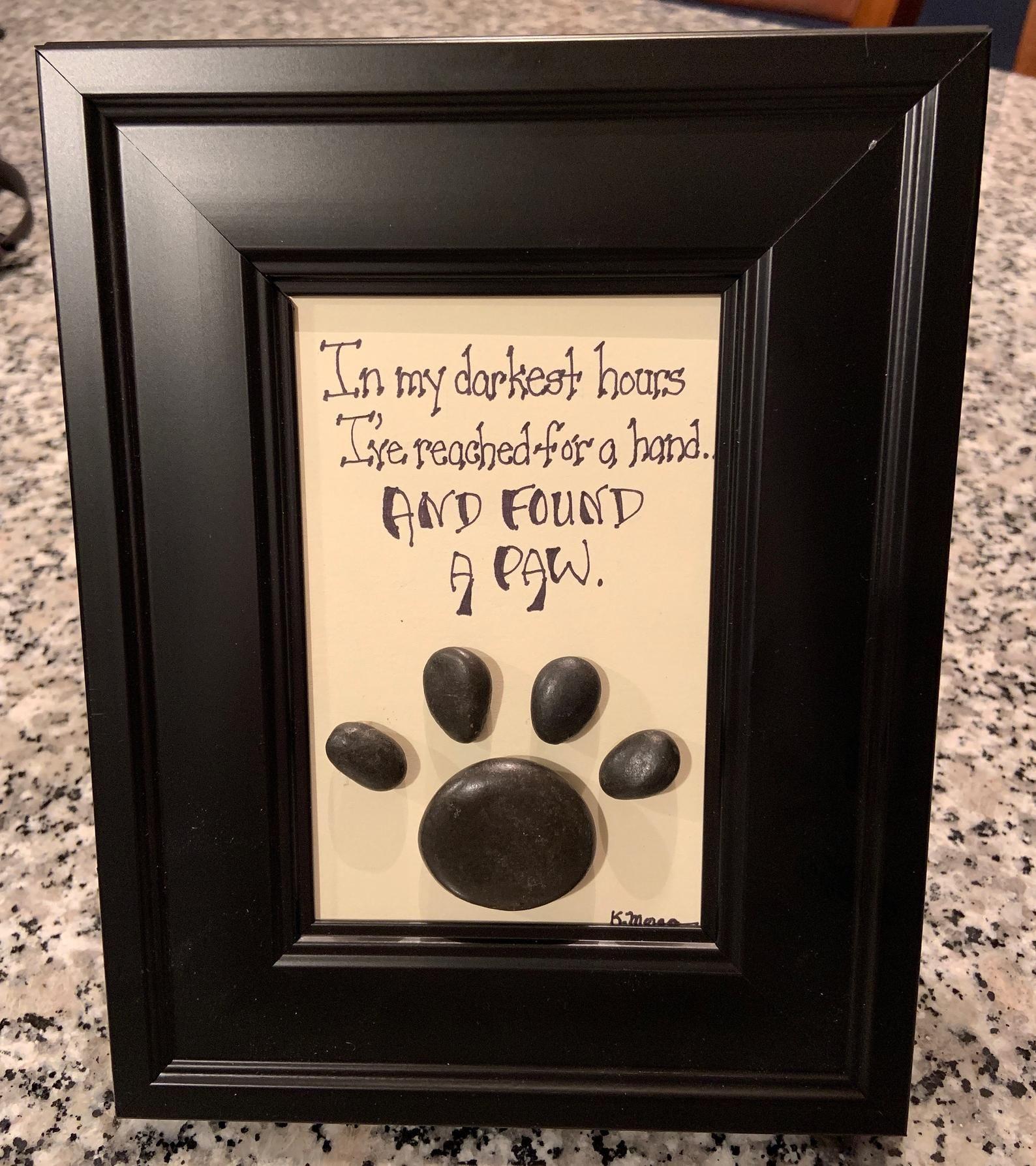 Framed pet pawframed pet memorial pet loss paw print pet
