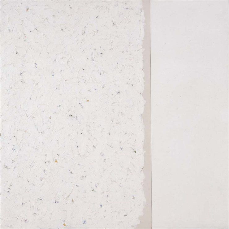 Robert Ryman: Untitled, 1960  Untitled is an early example of a painting by Robert Ryman made up of multiple parts. This large square is composed of two separate, different sized canvases. The left panel is a white composition, with thick brushstrokes densely applied upon a green, yellow and blue underpainting. Ryman's colour choice was probably not too carefully considered, because he knew that he would eventually coat the panel with white paint.