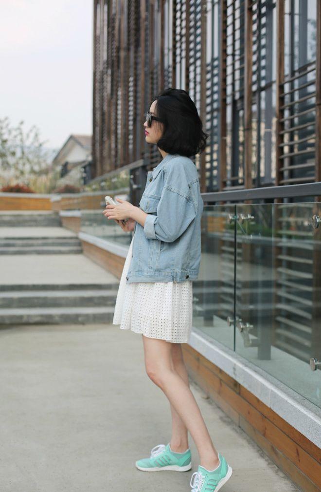 Lace dress with denim chambray jacket