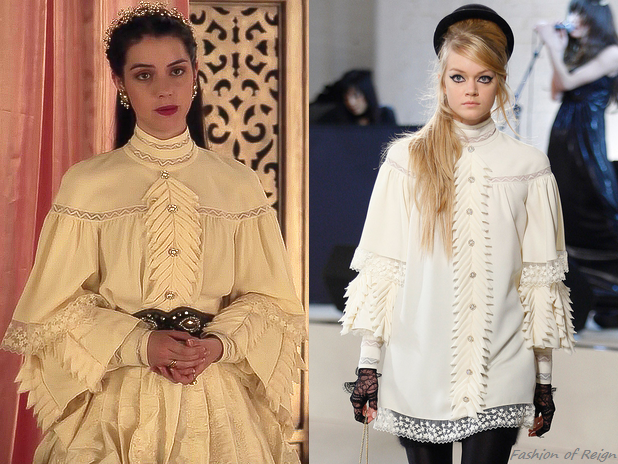 """In the episode 2x09 (""""Acts of War"""") Queen Mary wears this Chanel Pre-Fall 2008 Ecru Wing Dress from I Miss You vintage store.  Worn with Paris by Debra Moreland headband, Anthropologie belt, Erickson Beamon earrings, Gillian Steinhardt labyrinth and signet rings."""