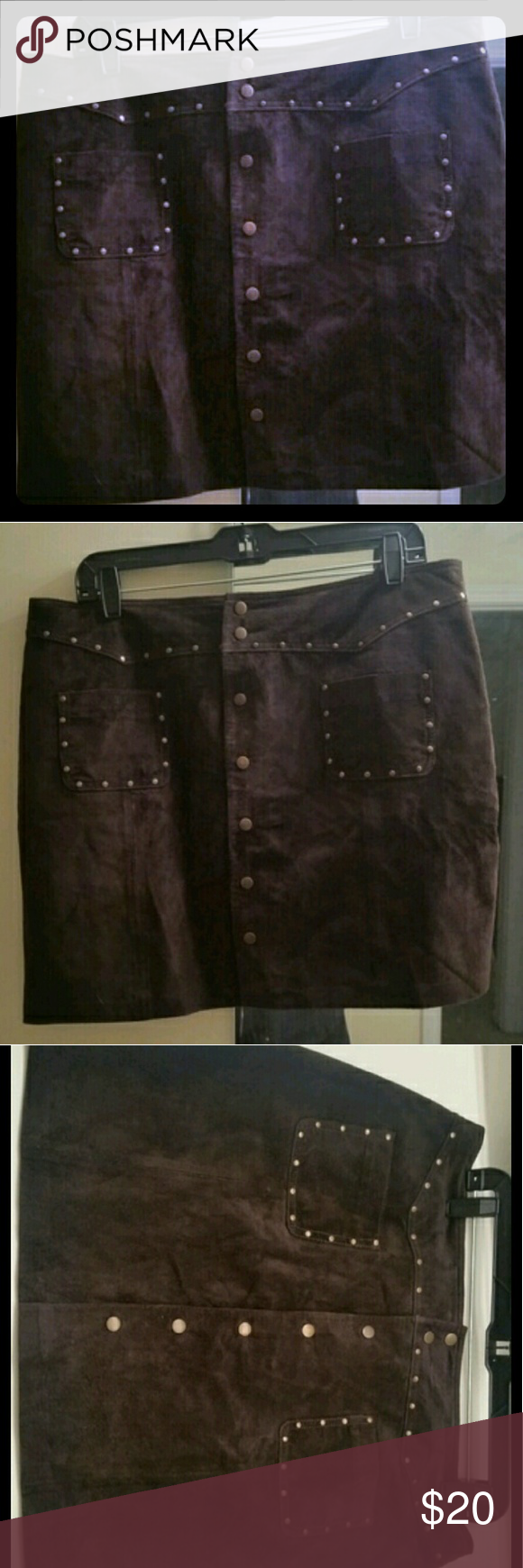 Brown leather mini skirt According to the tag this is a real leather, suede feeling mini skirt size 14. I wear a 14 and this wouldn't snap, so I think it fits more like a 12. unknown Skirts Mini