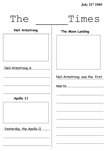 Moon Landing Newspaper Templates Primary Space Resources