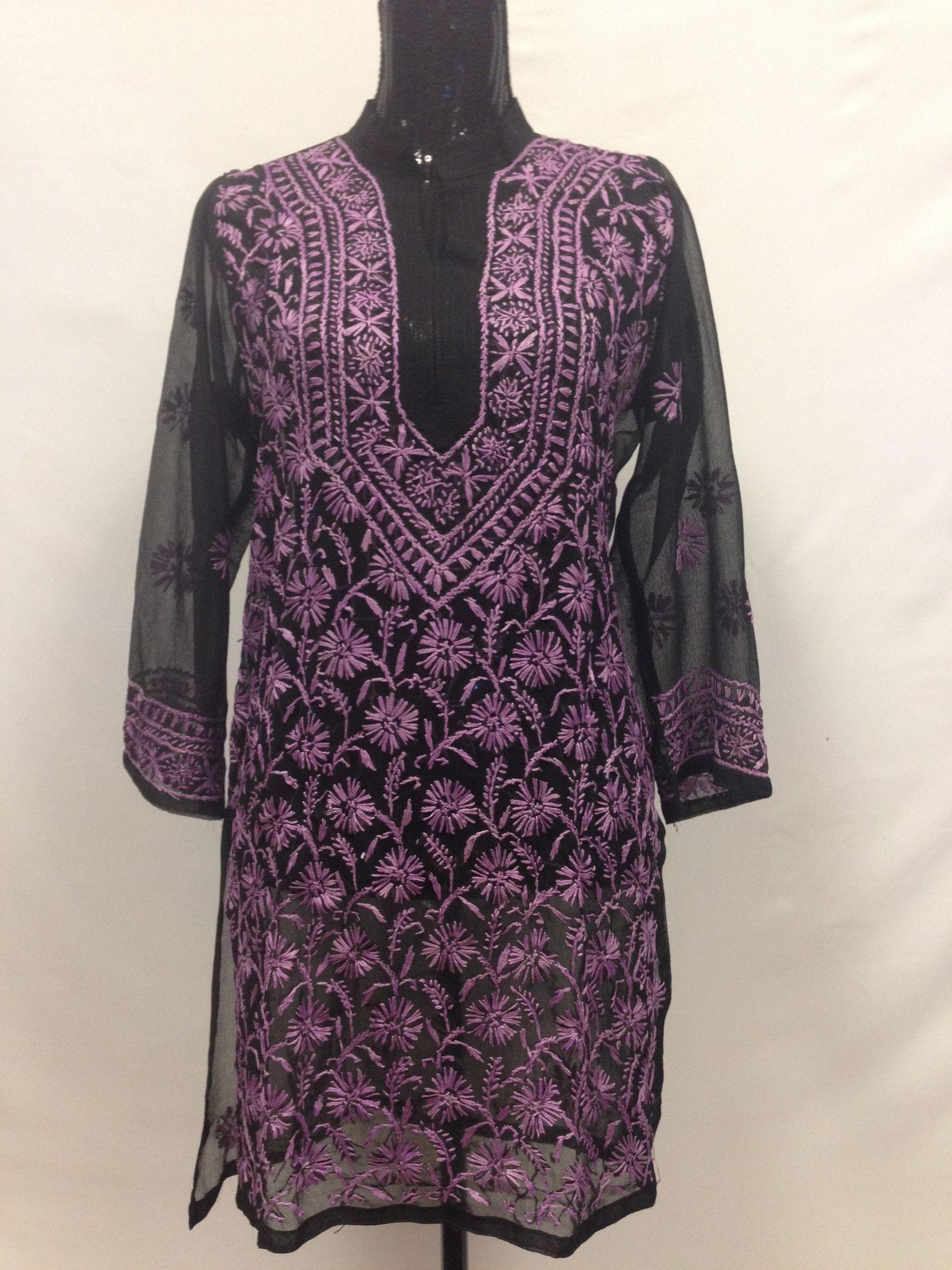 Lucknowi embroidery long kurti black kurti black and women tunic