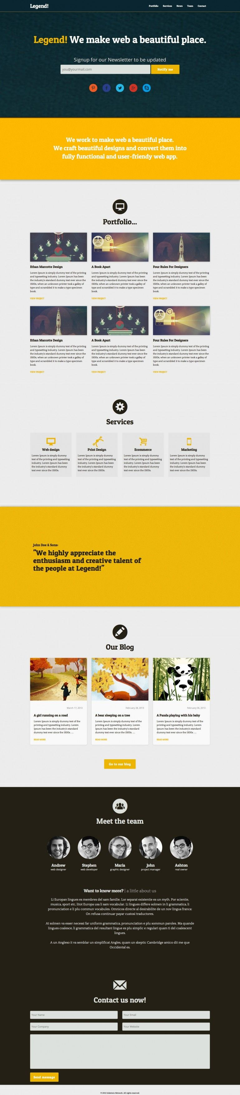 Legend - One Page Bootstrap Template | onepage | Pinterest