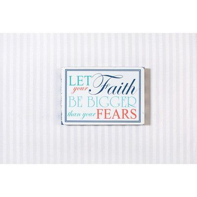 Adams & Co 'Let Your Faith Be Bigger Than Your Fears' Textual Art on Plaque