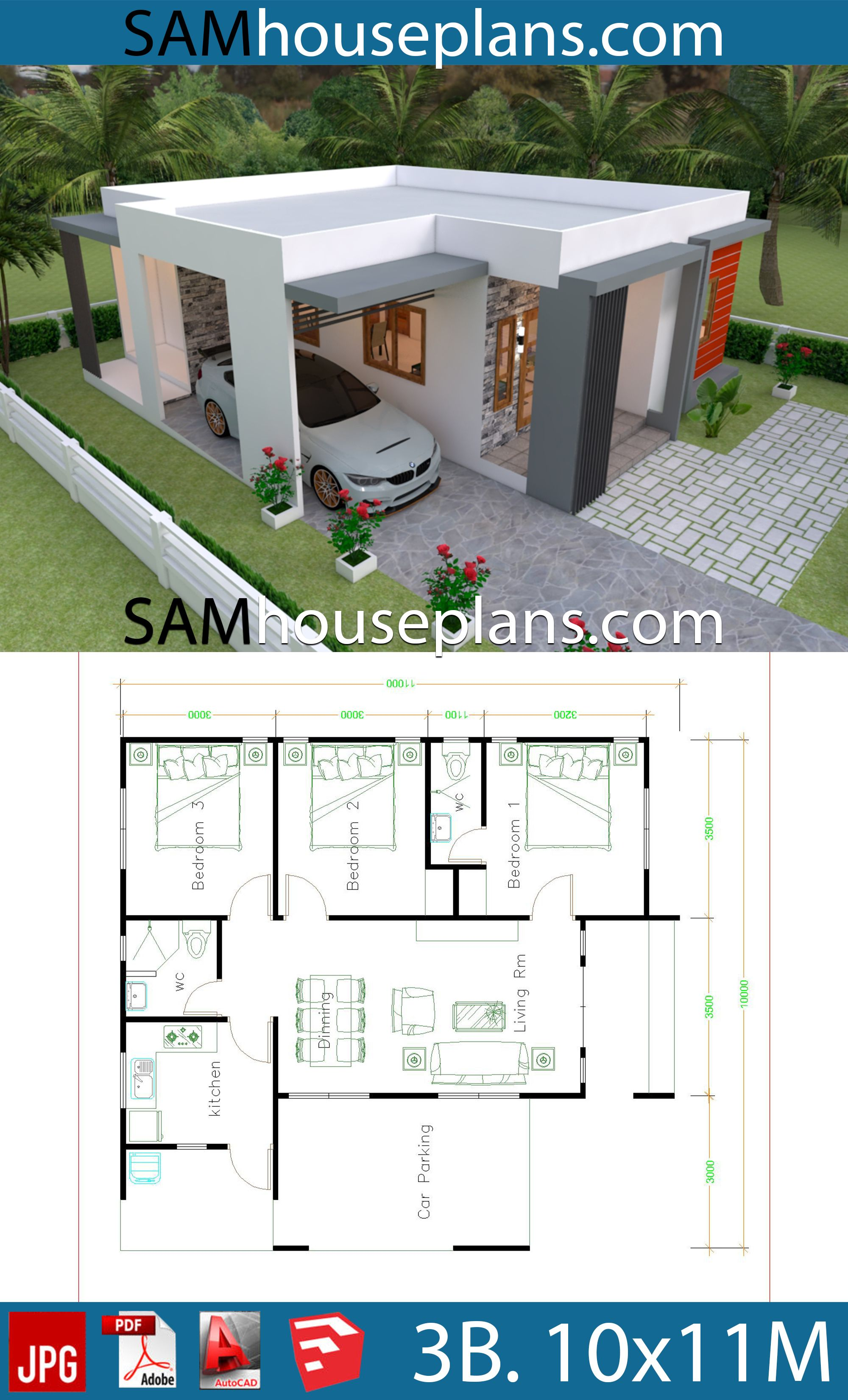 House Plans 10x11 With 3 Bedrooms House Plans Free Downloads Model House Plan House Construction Plan House Plan Gallery