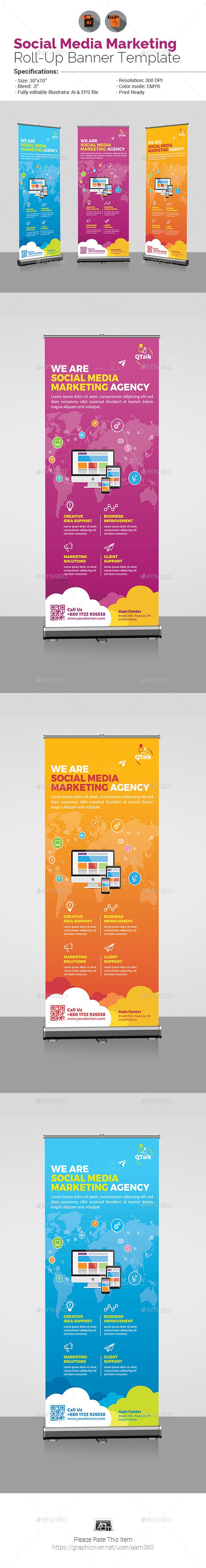 Social Media Marketing Roll Up Banner by aam360 Similar Templates:INFORMATIONS F...