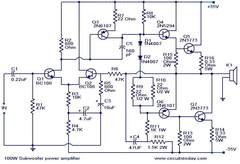 100 w subwoofer lifier circuit amplifier circuit diagram electronics and purpose