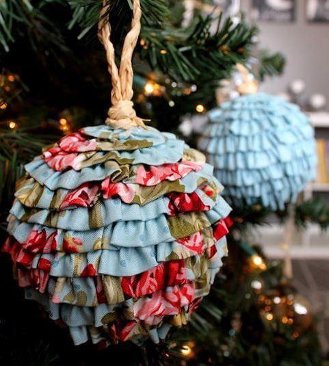 Frilly and Flouncy Fabric Ball Ornaments Ornament, Fabrics and