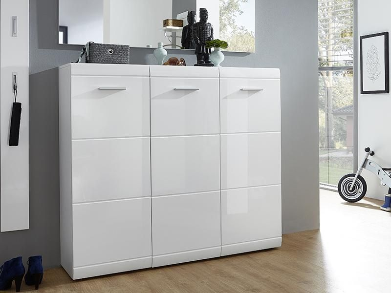 Germania Adana 3 Door Shoe Cabinet In White High Gloss