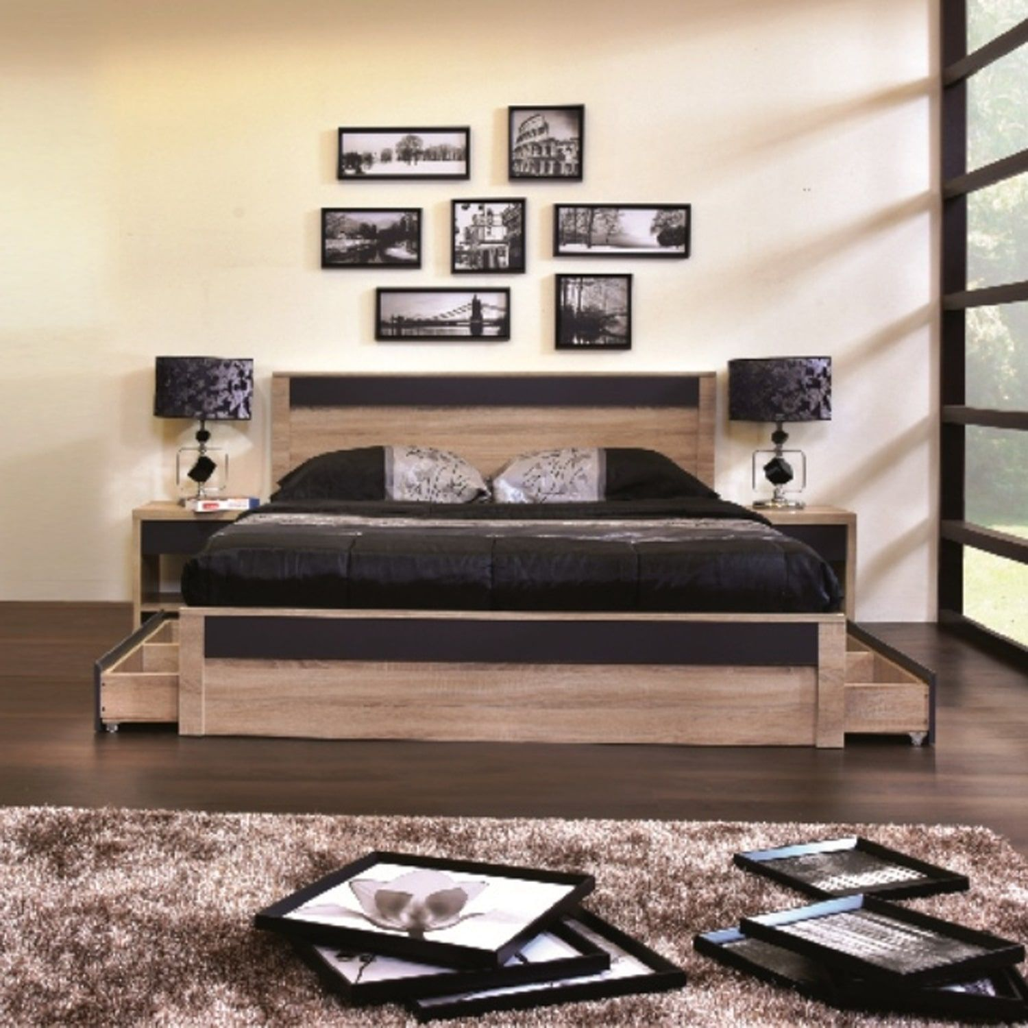 Best Contemporary Light Brown And Gray Wood Storage Platform 640 x 480