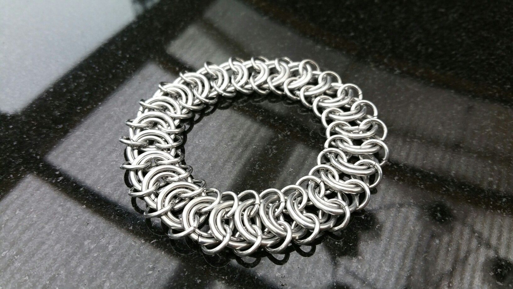 European 4 in 1 bracelet with double inner rings. My selfmade chainmail is also on facebook @ Ivy's Scale Mail