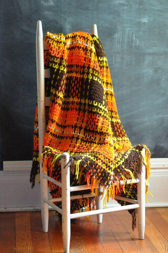 Vintage 70s Afghan Blanket Orange and Brown Plaid | Blankets and ...