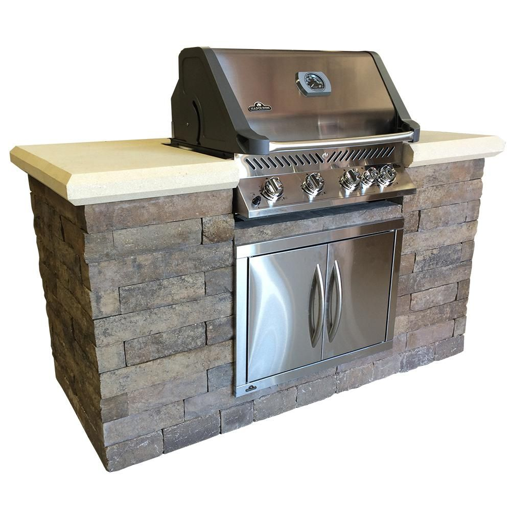 Oldcastle Avondale 6 Ft 5 Burner Built In Natural Gas Grill Island 13110013 The Home Depot Outdoor Kitchen Outdoor Kitchen Design Outdoor Kitchen Countertops