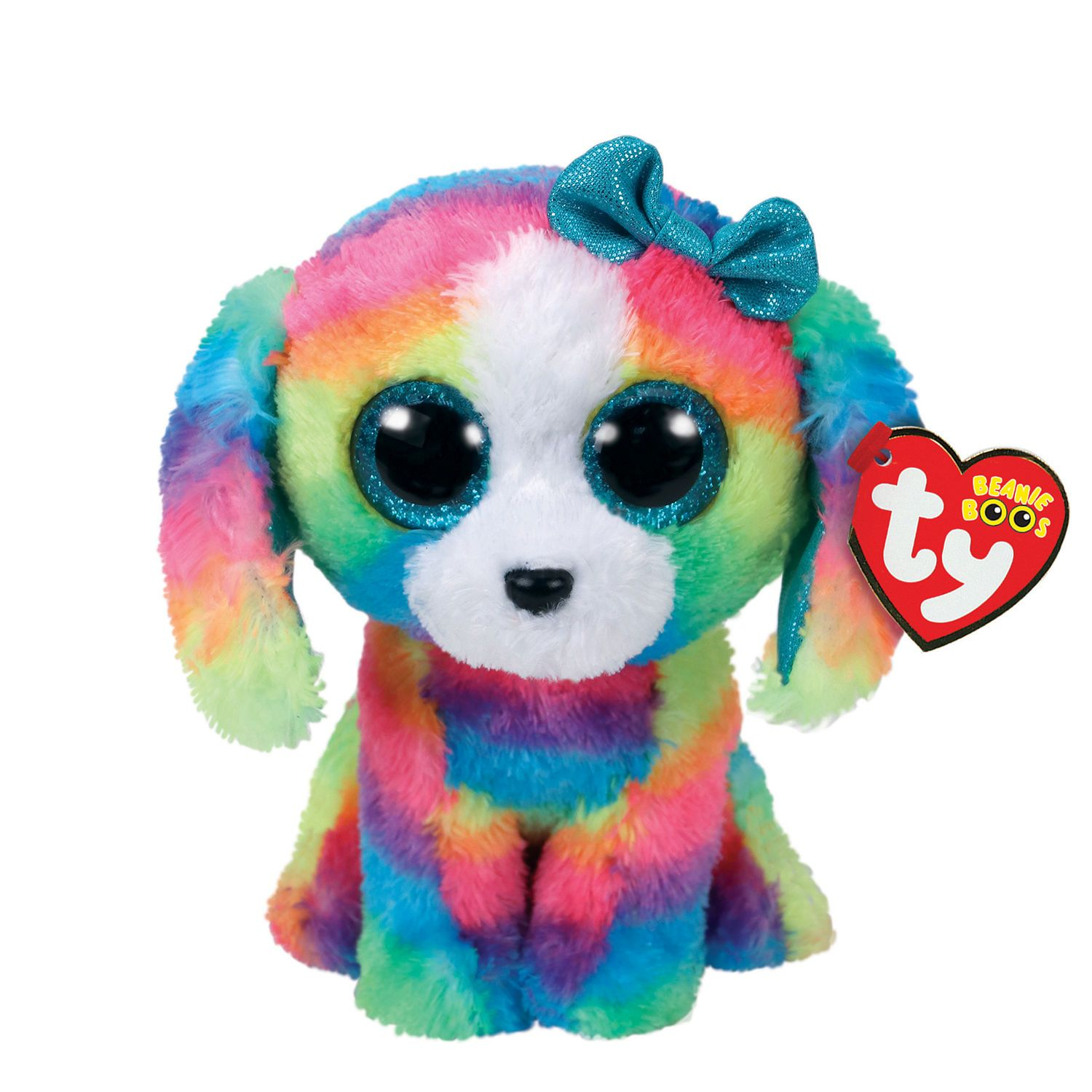 "Rainbow Fish 6/"" Ty Beanie Boos Puppy Glitter Big Eyes Plush Stuffed Animals Toy"