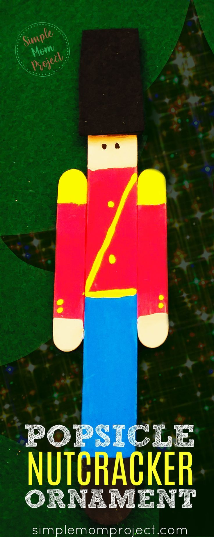 Cute Nutcracker Popsicle Stick Christmas Ornament Craft - Simple Mom Project #popciclesticks